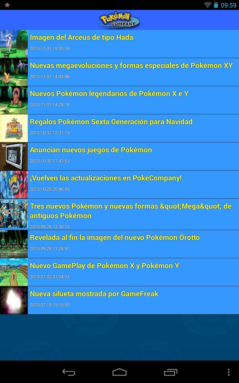 Imagen aplicación noticias Pokémon