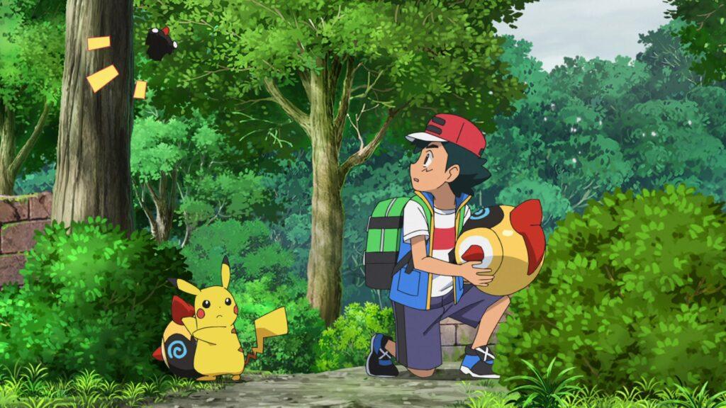 Ash, Pikachu y Falinks