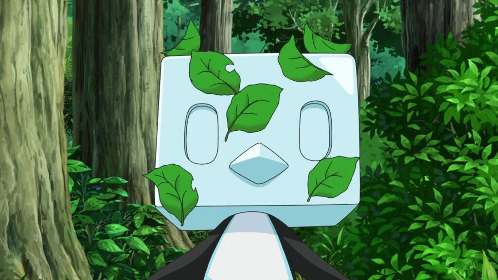 Eiscue con hojas en la cara