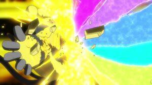 Episodio 77 Viajes Pokémon Electivire trata de absorber el Gigarrayo Fulminante de Pikachu