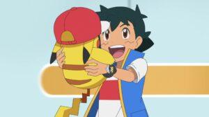 Episodio 77 Viajes Pokémon Ash y Pikachu celebran la victoria