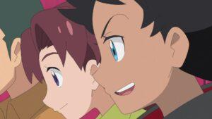 Episodio 77 Viajes Pokémon Goh animando a Ash