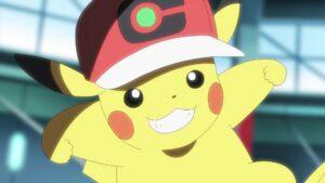 Episodio 77 Viajes Pokémon Pikachu con gorra de Ash