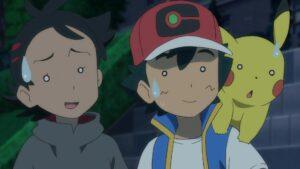 Episodio 78 Viajes Pokémon Ash Goh y Pikachu flipando con el fanboy Yabashi