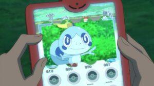 Episodio 78 Viajes Pokémon datos de Sobble recordado por Goh en la Dex