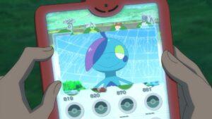 Episodio 78 Viajes Pokémon datos de Drizzile recordado por Goh en la Dex