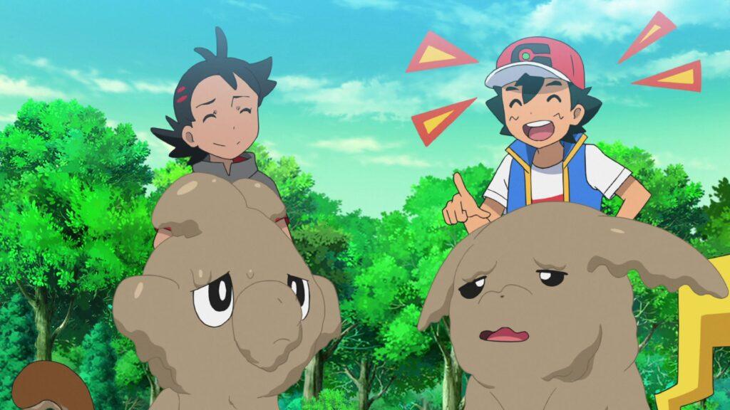 Episodio 78 Viajes Pokémon Ash se ríe de Pikachu y Grookey lodados