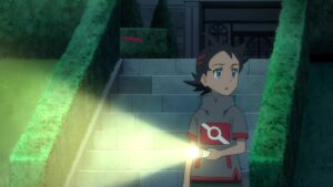Episodio 78 Viajes Pokémon Goh hace guardia en el Laboratorio Cerezo