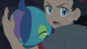 Episodio 78 Viajes Pokémon Goh protege a Drizzile del ataque de Kecleon