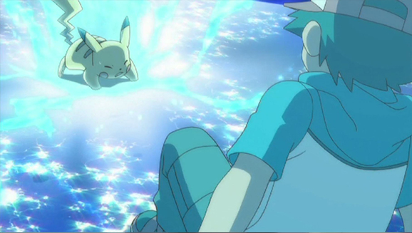 TV Pokémon Ash, Pikachu y Zekrom en Teselia